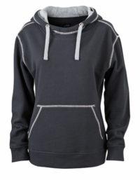 Premium Lifestyle Hoodie Woman - Black-Grey Heather