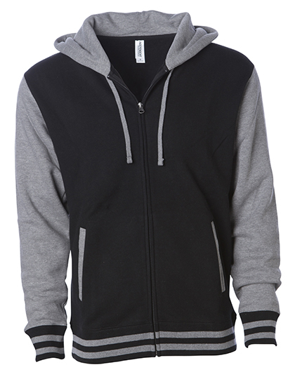 Heavyweight Varsity Zip Hood Woman - Black-Gunmetal Heather