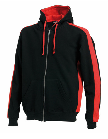 Premium Full Zipped Hoodie Man - Black-Red