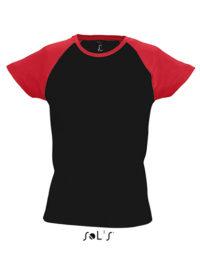 Premium T-Shirt Raglan Woman - Black / Red
