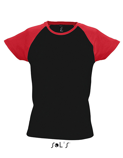 Premium T-Shirt Raglan Woman - Black / Red