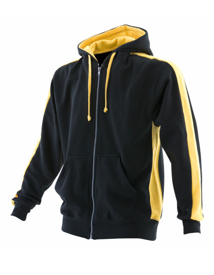 Premium Full Zipped Hoodie Man - Black-Yellow