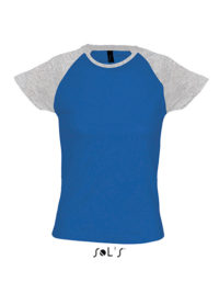 Premium T-Shirt Raglan Woman - Blue / Grey