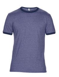 Premium Ringer T-Shirt Man - Heather Blue / Navy
