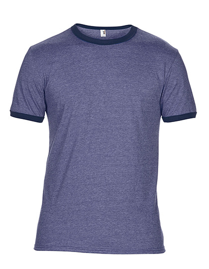 Premium Ringer T-Shirt Man - Heather Blue / Navy