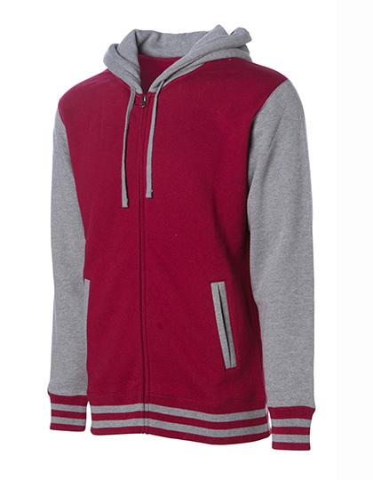 Heavyweight Varsity Zip Hood Woman - Cardinal-Gunmetal Heather