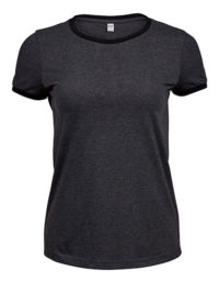 Premium T-Shirt Ringer Woman - Dark Grey Melange / Black