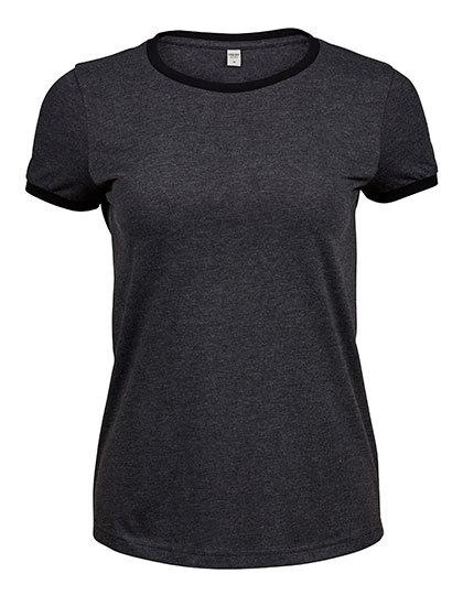 Premium T-Shirt Ringer Woman - Dark Grey Melange / Black