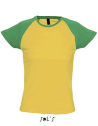 Premium T-Shirt Raglan Woman - Yellow / Green
