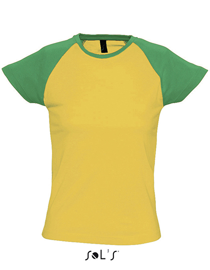 Premium T-Shirt Raglan Woman - Yellow / Green