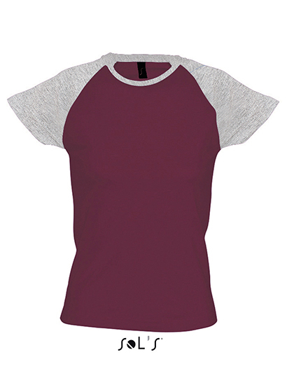 Premium T-Shirt Raglan Woman - Purple / Grey