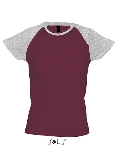 Premium T-Shirt Raglan Woman - Purple / Grey