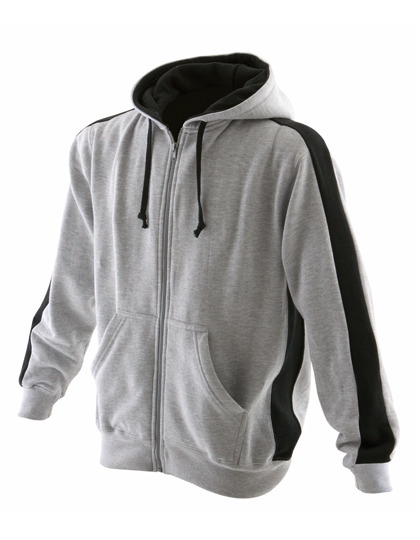 Premium Full Zipped Hoodie Man - Heather Grey-Black