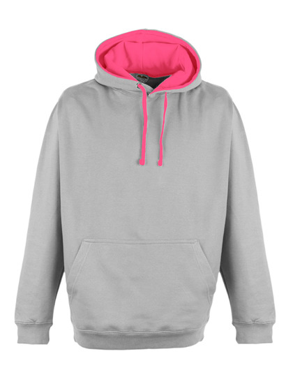 Premium Superbright Hoodie Woman - Heather Grey-Electric Pink