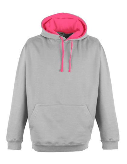 Premium Superbright Hoodie Woman - Heather Grey-Electric Pink