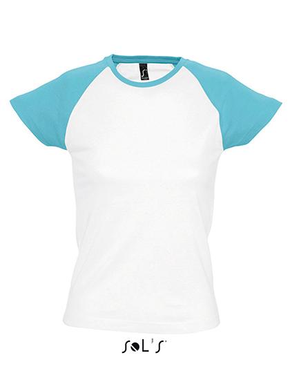 Premium T-Shirt Raglan Woman - White / Light Blue