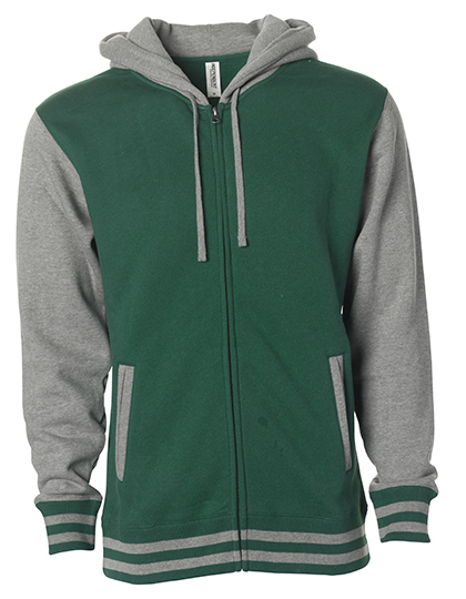 Heavyweight Varsity Zip Hood Woman - Hunter Green-Gunmetal Heather
