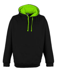 Premium Superbright Hoodie Woman - Jet Black - Electric Green