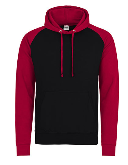 Premium Baseball Hoodie Man - Jet Black-Fire Red