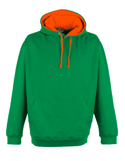 Premium Superbright Hoodie Woman - Kelly Green - Electric Orange