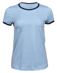 Premium T-Shirt Ringer Woman - Light Blue / Blue