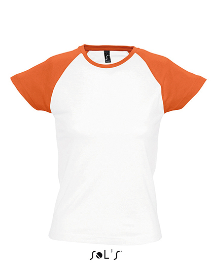 Premium T-Shirt Raglan Woman - White / Orange