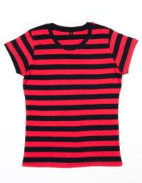 Premium T-Shirt Stripes Woman - Red / Black