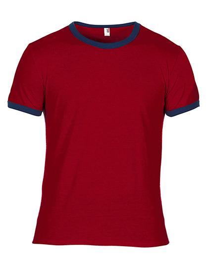 Premium Ringer T-Shirt Man - Indepence Red / Navy