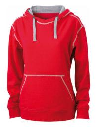 Premium Lifestyle Hoodie Woman - Red-Grey Heather
