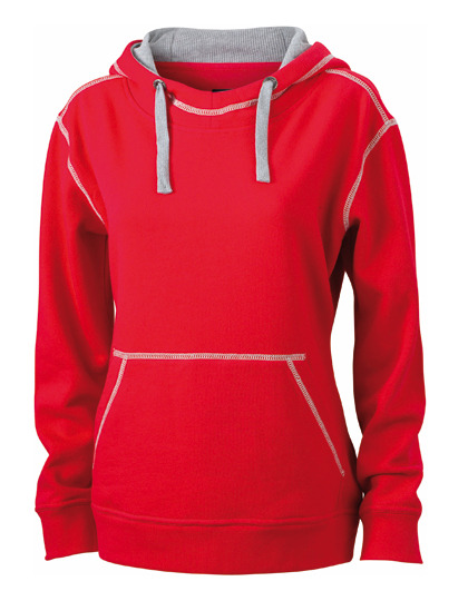 Premium Lifestyle Hoodie Woman - Red-Grey Heather