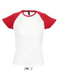 Premium T-Shirt Raglan Woman - White / Red