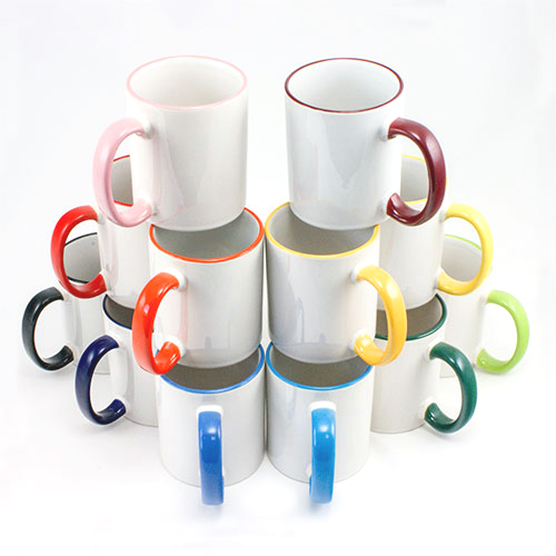 Kaffeetasse, Henkel und Rand farbig