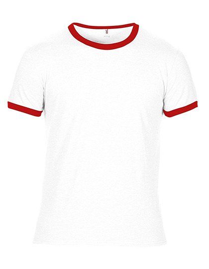 Premium Ringer T-Shirt Man - White / Red